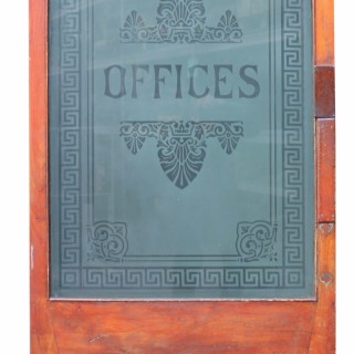 Victorian Mahogany & Etched Glass Door