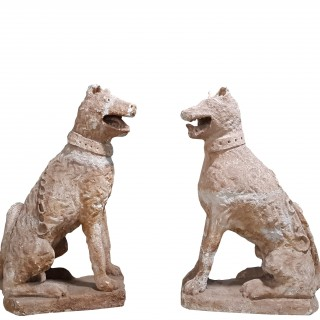 Pair Of 17th Century Style Seated Dogs / Armorial Hounds