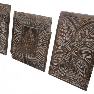 Set Of Three 16th Century English Carved Oak Panels
