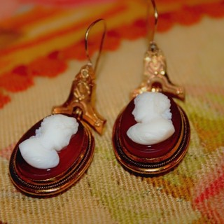 18ct Yellow Gold Hardstone Cameo Drop Earrings, Circa 1880