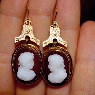 18ct Yellow Gold Hardstone Cameo Drop Earrings, Circa 1880