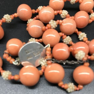 Chinese Art Deco Faux Coral Necklace