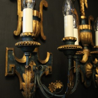 Florentine Pair Of Giltwood Wall Lights