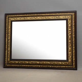 French Repoussé Brass Cushion Mirror