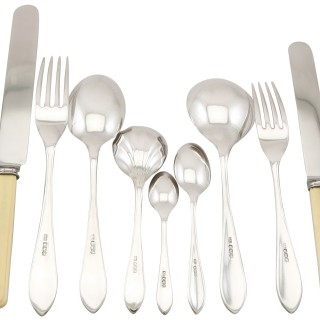 Sterling Silver Sandringham Pattern Canteen of Cutlery for Six Persons - Antique Edward VIII (1936)