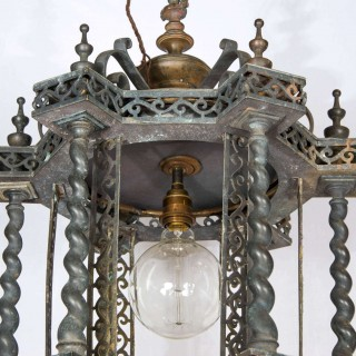 Unusual Pagoda style toleware & bronze hanging lantern