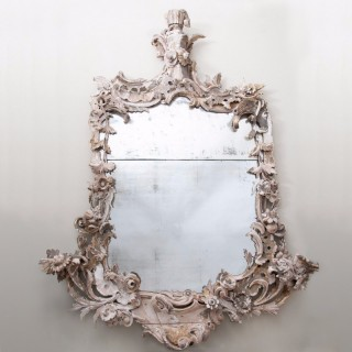 18th Century rococo carved wood mirror