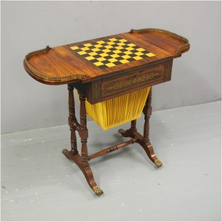 Regency Brass and Inlaid Rosewood Games Table