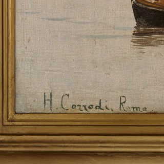Large Orientalist seascape oil painting in giltwood frame by Corrodi