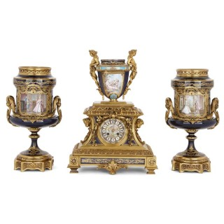 Rococo style gilt bronze and porcelain matched clock set