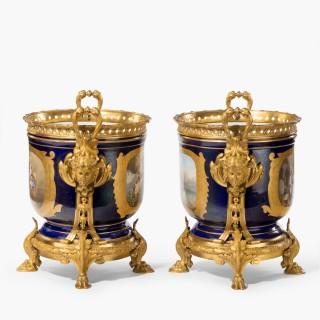 A Fine Pair of Blue Sèvres Style Porcelain Cachepots