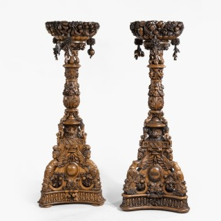 A Magnificent Pair of Anglo-Indian Jardinière Pedestals