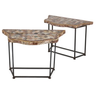 Two antique iron and specimen marble console tables
