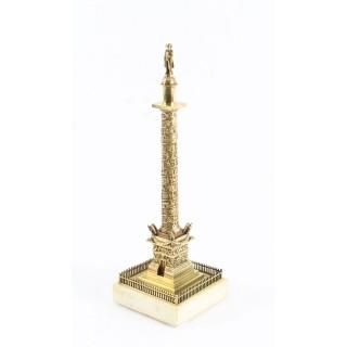 Antique French Grand Tour Gilt Bronze Model of Vendome Column 19thC