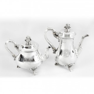 Antique William IV Silver Teapot & Coffee Pot Paul Storr 1826 19th Century