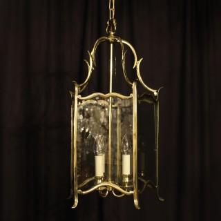 English Brass Triple Light Antique Hall Lantern