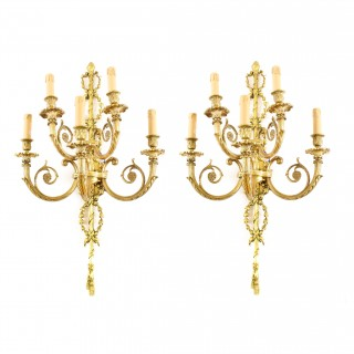 Antique Pair of French Louis Revival 5 Branch Ormolu Wall Lights C1900