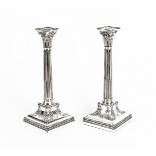 Antique Pair Silver Plated Candlesticks by James Dixon C1870 19th Century