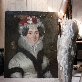 A Late 18thC French School Oil on Canvas Portrait of a Lady c.1780-90