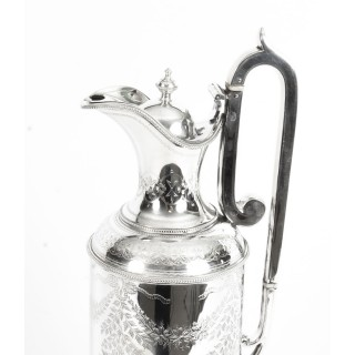Antique Victorian Silver Plate Claret Jug by Martin Hall & Co C1870 19th Century