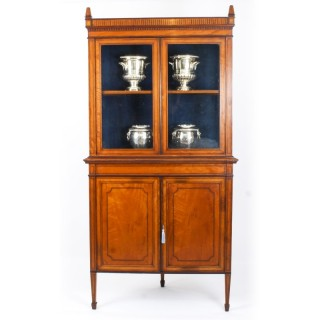 Antique English Sheraton Revival Satinwood Corner Cabinet c.1890 19th C