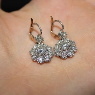 18ct Yellow Gold and Platinum 4.65ct Diamond Cluster Drop Earrings Circa 1910