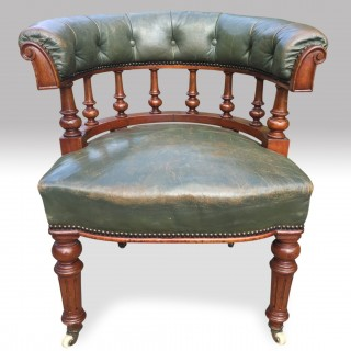 A good mid 19th century leather covered Club/Desk/Office Chair