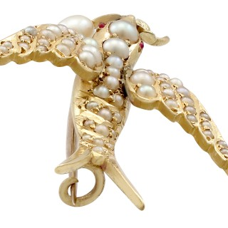 Seed Pearl and Ruby, 15ct Yellow Gold Bird Brooch - Antique Victorian