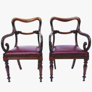 Antique Pair Mahogany Armchairs or Desk Chairs