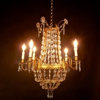 Louis XVI Style Gilt-Bronze and Crystal Six-Light Chandelier, ca. 1860
