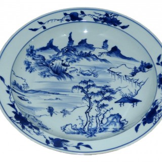 kangxi Blue and White master of The Rocks large Plate
