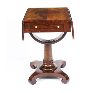 Antique William IV Flame Mahogany Drop Leaf Work Table c.1830 19th Century