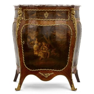 Antique kingwood, gilt bronze and vernis Martin side cabinet