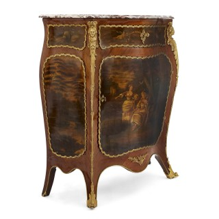 Antique kingwood, gilt bronze and vernis Martin side cabinet