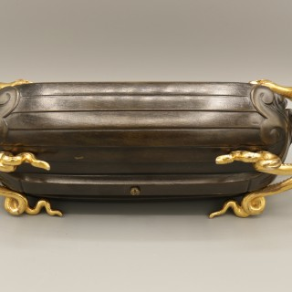 mid 19th Century French bronze and ormolu boat-shaped Pentray
