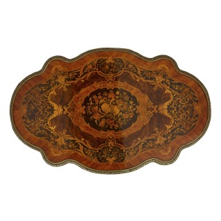 Antique French marquetry and gilt bronze centre table