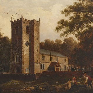 'Chapel in the Woods', oil on canvas painting by English School