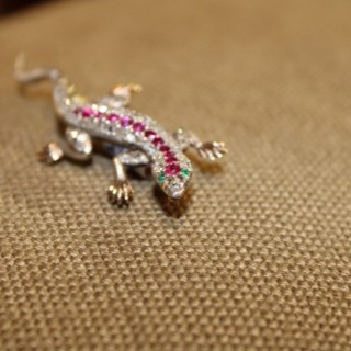 18ct Yellow Gold and Silver Ruby, Emerald & Diamond Salamander, circa 1890-1900