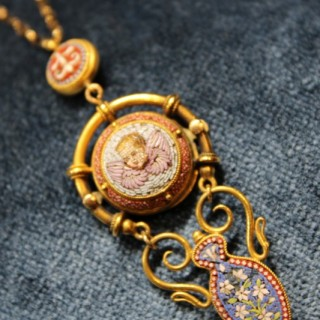 A fine Micro Mosaic High Carat Yellow Gold (tested) Pendant , circa 1880