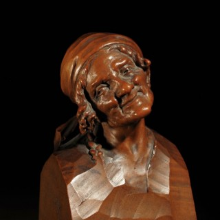 A Beautiful Finally Carved Signed Pear Wood Head Of An Old Woman, By Hermann Steiner Meran. 1878-1963.