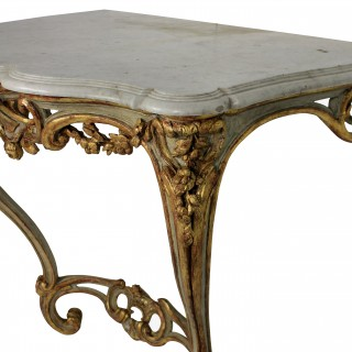 A FRENCH SERPENTINE PAINTED & GILDED CONSOLE
