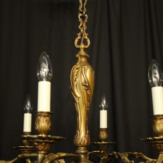 French Gilded Bronze 6 Light Antique Chandelier
