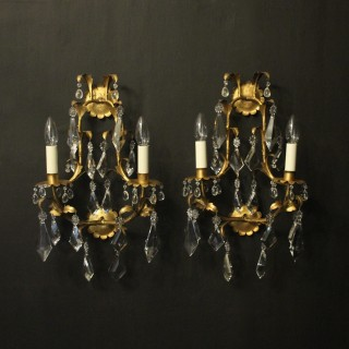 Florentine Pair Of Gilded Twin Arm Wall Lights
