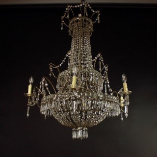 Large Pair of Empire Style 7-Light Crystal-Cut Chandeliers