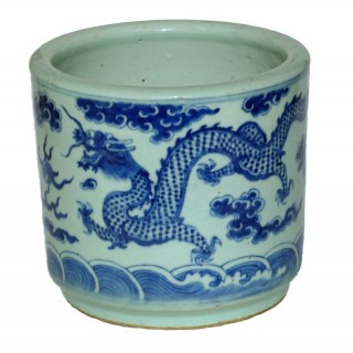 Chinese 19th century large Blue and White brush Pot /bitong