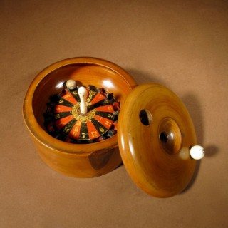A Victorian Boxwood Treen Travelling Roulette Wheel.