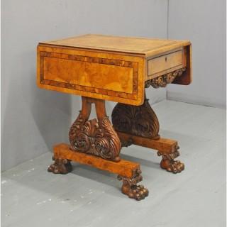 William IV Pollard Oak, Burr and Inlaid Work Table