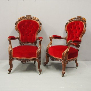 Pair of Victorian Walnut and Red Velvet Armchairs