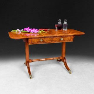 Burr Yew veneered and Rosewood cross banded drop leaf Sofa Table