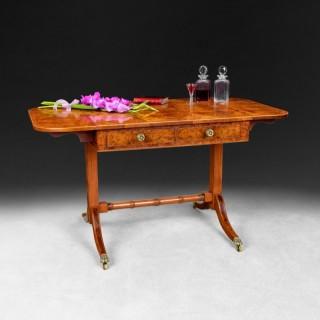 Burr Yew veneered and Rosewood cross banded drop leaf Sofa Table